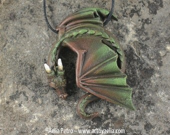Custom Made Resting Dragon Necklace - Earth Elemental Dragon - Pre-Order Shipping in 6-10 Weeks