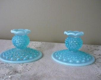 Vintage Aqua Blue Opalescent Hobnail Candle Holders, Set of 2, Shabby Chic Decor