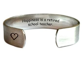 Teacher Gift | Gift for Teachers | Daycare Gift | Babysitter Gift | Nanny Gift | Happiness is a retired school teacher. Bracelet