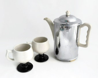 Thermisol Insulated Coffee Pot - Hammered Chrome Cozy - Porcelain Coffee Pot - 1940's Germany- SUS Bauscher Lizenz - Sale