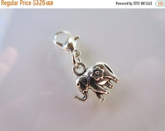 20% OFF SALE Lucky Elephant Clip-On Charm Tibetan Silver with silver lobster clasp--zipper pull, charm bracelets, necklace charm