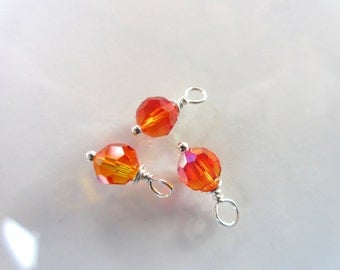 3pc Swarovski Crystal Charms, 6mm round faceted Fire Opal Crystal, sterling silver wire wrap earring dangles orange summer color