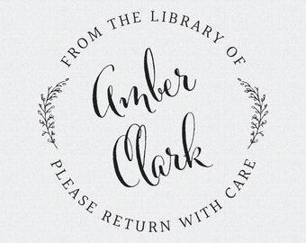 Library Book Stamp, From the Library Of, Gift for Her, Self Inking Stamp, Wood Handle, Circle Stamp, Christmas Present (T288)