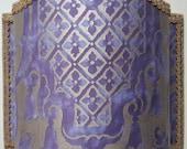 Wall Light Venetian Lamp Shade Fortuny Fabric Royal Purple & Silvery Gold Carnavalet Pattern - Handmade in Italy