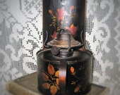 Reserved for Rodrigo!!! Tole Hurricane Lamp - Hand Painted Hurricane Lamp - Black Tole Hurricane Lamp - Hurricane Lamp with Copper Handle