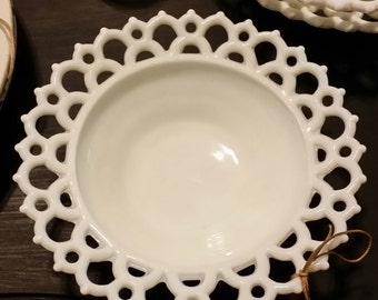Vintage Milk Glass Footed Fruit Bowl  with Lace Edge