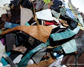 high quality recycled leather scraps - one pound mixed leathers