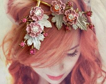 Decorative Hair Pins Bridal Pink White Jewelry 1940's Flowers Rhinestone Enamel Leaf Leaves Hairpins Bobby Pins