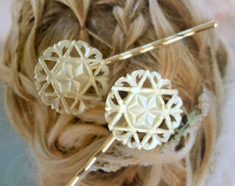 Decorative Hair Pins Jewelry Unique 1930's Mother of Pearl MOP Bridal Hairpins Bobby Pins
