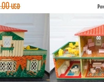ON SALE Vintage 1948 T.Cohn Inc. Tin Litho Dollhouse, Spanish Style, Fully Furnished, Made In Usa, Dollhouse, Superior Doll Furniture, Toy,