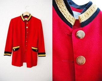 Vintage 90s Sargent Military Band Jacket Coat Blazer Red Sargent Peppers / Womens Fitted / Tuxedo /