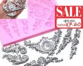 20% OFF Art Nouveau Scrolls Baroque Feather Crown Corner Silicone Mold 470L Fondant Gumpaste Polymer Clay Chocolate Melt (Original 9.5)