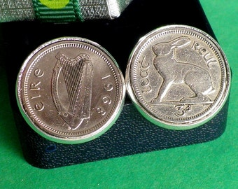 49th Birthday, 49th Anniversary, 1968 Irish Threepence Coin Cufflinks, Irish Rabbit 3d, Dates 1928 to 1968 Leat Reul/Threepence