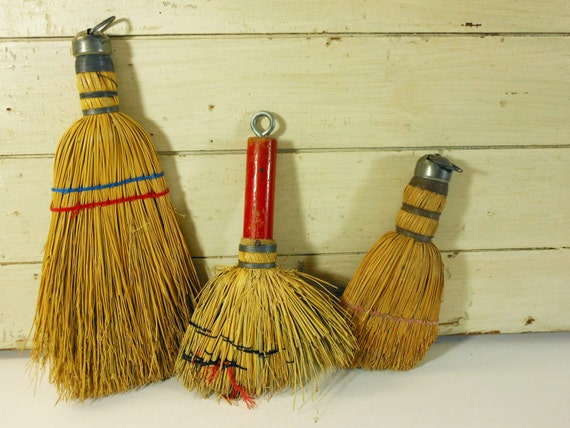 Three Vintage Straw Whisk Brooms Red Wooden Handle And Wire