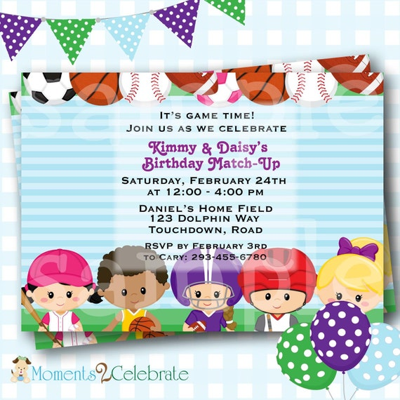 Sports Birthday Invitation, Sports Birthday Invites, Printable Sports Birthday Invitations, Party Invites, Co-Ed Birthday Invites - H04
