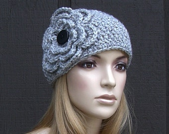Knit Winter Headband Head Wrap Earwarmer Gray Tweed with Crochet Flower and Black Buttons
