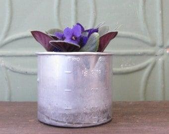 Metal Measuring Cup, Vintage Two Cup Measure, Vase, Utensil Storage