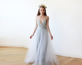 Light Gray tulle maxi dress, Fairy tulle maxi dress , Bridesmaids straps maxi gown 1053