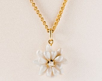 Antique Necklace - Antique Victorian Flower Mine-Cut Diamond and Freshwater Pearl 14k Yellow Gold Necklace