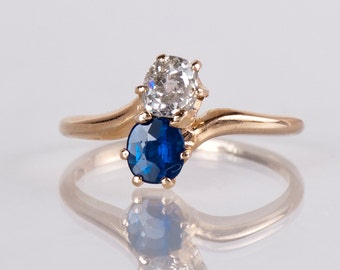 Antique Ring - Victorian Ring - Antique Victorian 15K Rose Gold Diamond and Sapphire Ring