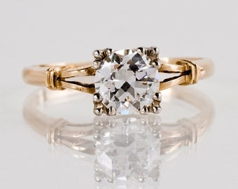 Antique Engagement Ring - Antique 1930s 14k Two-Tone Gold Diamond Engagement Ring