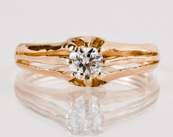 Antique Engagement Ring - Antique 1930s 14k Rose Gold Diamond Engagement Ring