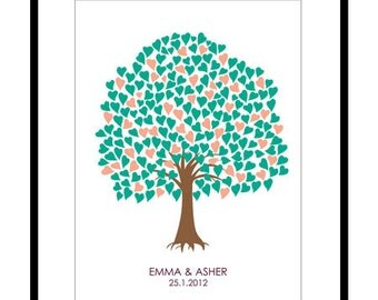 Wedding Guest Book - Custom Tree Guest Book Print - 18x24in - 200 Signatures - Free Gift with Purchase