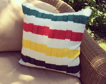 """Glacier National Park Blanket Throw Pillow   18""""   Made with Pendleton Wool   Under the Redwood Tree"""