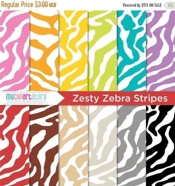 BLACK FRIDAY SALE - Digital Paper - Zesty Zebra Stripes - Instant Download