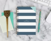 """2016 Weekly Planner """"Navy Stripes"""" with monthly spreads, back pocket, stickers, adhesive tabs and more"""
