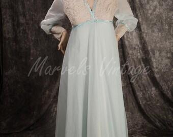 Vintage Light Blue Shadowline Chiffon Nightgown and Peignoir Lingerie Set Size Medium