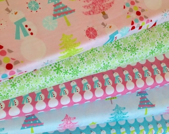 Home For the Holidays Pink, Green and Blue Fat Quarter Bundle