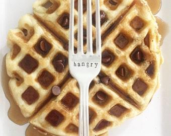 "vintage ""hangry"" hand stamped fork"