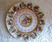 Reserved for J .... Vintage PORCELAIN SERVING PLATE, Romantic Couples with Lilac and Gold Rimmed Border. Fragonard Style.