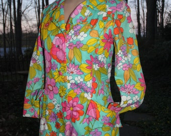 1960 Vintage Dress & Matching Coat MOD Flower Power Lord and Taylor
