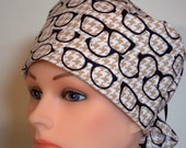 Glasses on Chex Print Pony Tail Style Surgical Hat