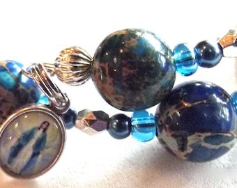 Blue Glass Rosary Bracelet