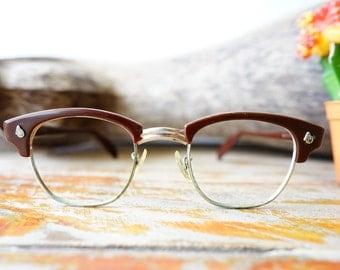 Vintage Eyeglasses American Optical 1950's Combination Frame Dark Brown large Size 48-24