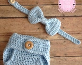 Diaper cover and Bow tie set for babies, crochet diaper cover, crochet baby bow tie , Crochet baby set, Newborn Matching set
