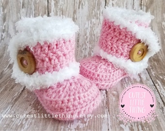 UGG, Crochet Baby Boots, Baby Girl Boots, Pink Baby Boots, Crochet Baby Booties, Baby Girl Crochet Booties, Baby UGG, Crochet Booties