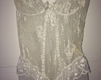 beautiful vintage long lace bustier slip