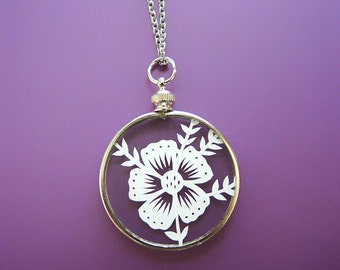 Papercut Flower Necklace- Original Handcut Paper in Glass Pendants with Silver Chain