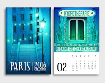 2016 Paris Calendar - Paris Illustration Desk calendar Wall calendar Art Gift ideas for her Mini Calendar Paris art Home decor Wall decor