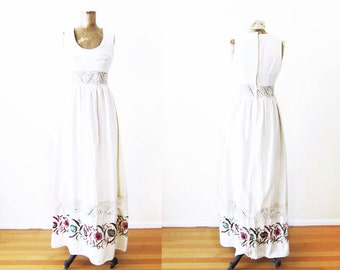 1960s Maxi Dress / Bohemian Wedding Dress / Embroidered 60s Dress / Hippie Dress / Lace Cutout / Small