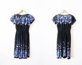 Vintage Dress / Black Sundress / 70s Dress / Floral Dress