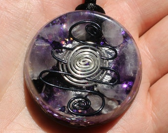 Energy Protection Black Tourmaline and Amethyst Orgone Pendant