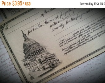 HUGE SALE Gorgeous Unused 100 Year Old Antique Checks   Capitol Building