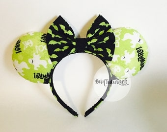Bat Mouse Ears / Halloween Mouse Ears / Boo Mouse Ears / READY to SHIP / by Born Tutu Rock