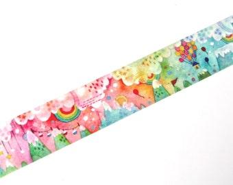 Rainbow Washi Tape - Dream Journey Washi Tape - Designer Washi Tape - Water Color Washi Tape - Designer Masking Tape - 10 meters
