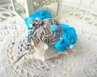 GOD Post Bracelet, Turquoise Silk Bracelet,  Arabian Style Bracelet, Turquoise Charm Bracelet, Bohemian Crystal Bracelet, Christmas Gifts